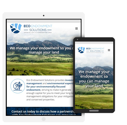 Eco Endowment Solutions website mobile view